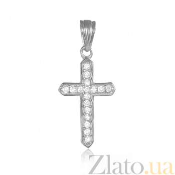 Серебряный крестик с фианитами Лунное сияние 000025276