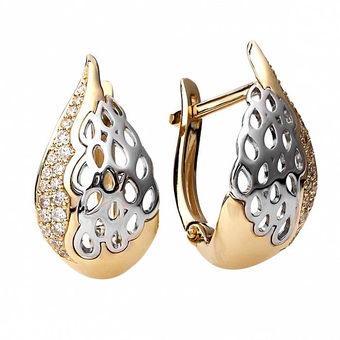 Серьги из золота и серебра с цирконием Цитера 000030176