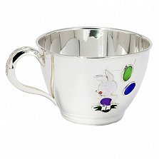 Серебряная чашка Пятачок с эмалью