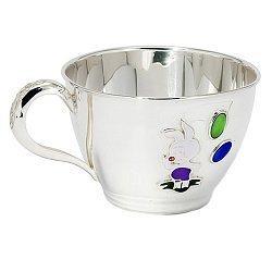 Серебряная чашка Пятачок с эмалью 000043517