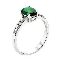 Серебряное кольцо с зеленым кварцем и фианитами 000135434