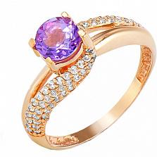 Золотое кольцо Вива с аметистом и фианитами