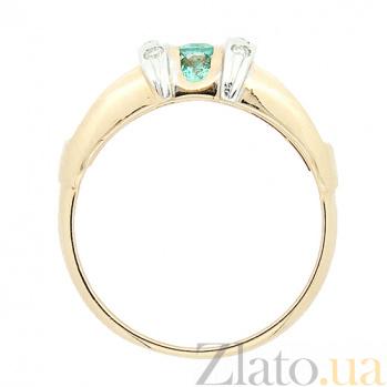 Золотое кольцо в красном цвете с изумрудами и бриллиантами Одэзи 000021297
