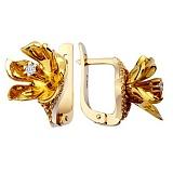 Золотые серьги с бриллиантами Гортензия