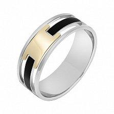 Перстень в белом и желтом золоте Респектабельность с эмалью