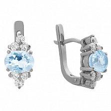 Серебряные серьги Шарлиз с голубым топазом и фианитами