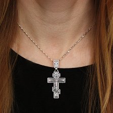Серебряный крест Строгий классический с чернением