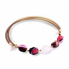 Чокер с агатом, розовым кварцем, ониксом и кристаллами Swarovski