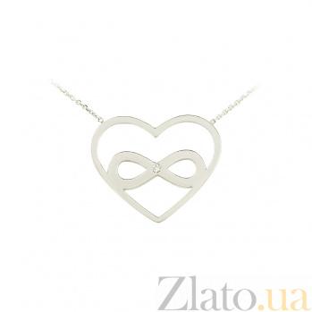 Золотое колье с фианитом Символ бесконечной любви 2Л480-0005