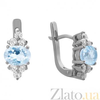 Серебряные серьги Шарлиз с голубым топазом и фианитами 000032403