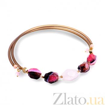 Чокер с агатом, розовым кварцем, ониксом и кристаллами Swarovski К0105