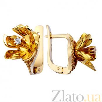 Золотые серьги с бриллиантами Гортензия KBL--С2175/крас/брил