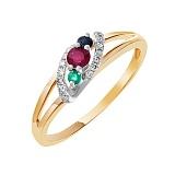 Золотое кольцо Эудина с рубином, изумрудом, сапфиром и бриллиантами