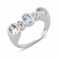Кольцо Алисия из белого золота с бриллиантами и топазами