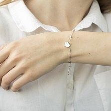 Серебряный браслет Эльга с сердцем, бусинами и эмалью