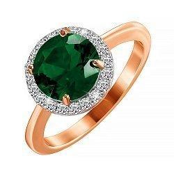 Позолоченное серебряное кольцо с изумрудным фианитом 000028434
