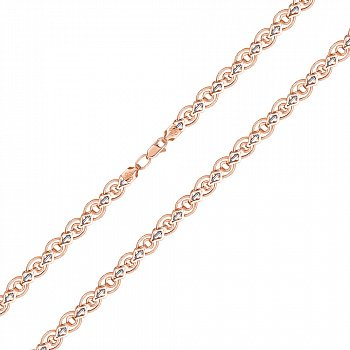 Золотой браслет в комбинированном цвете, 7мм 000122783