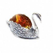 Серебряная солонка с позолотой Лебедь