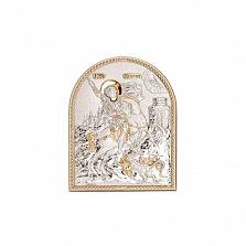 Икона Георгий Победоносец серебро с позолотой
