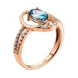 Кольцо из красного золота с темно-голубым топазом и фианитами 000134786