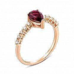 Кольцо из красного золота с рубином и фианитами 000135278