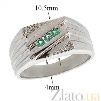 Серебряный перстень с бриллиантами и изумрудами Эрис ZMX--RDE-49631-Ag_K