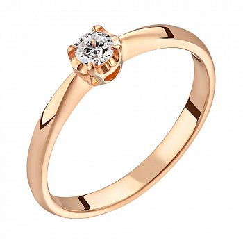 Помолвочное кольцо из красного золота с бриллиантом 0,06ct 000050486