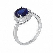 Серебряное кольцо Рашель с сапфировым фианитом