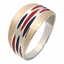 Серебряное кольцо с эмалью и золотой вставкой Николь
