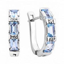 Серебряные серьги с голубыми топазами и фианитами 000131743