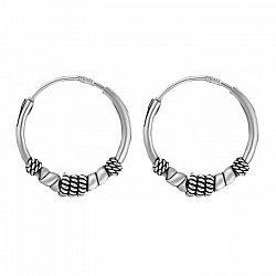 Серебряные серьги-кольца, d 15мм 000024711