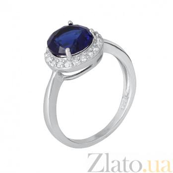 Серебряное кольцо Рашель с сапфировым фианитом 000028367