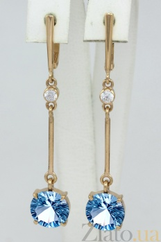 Золотые серьги-подвески Доминга с топазами и фианитами VLN--113-1547-1