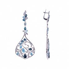 Серебряные серьги с топазами и аметистами Alanda