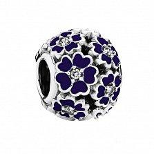 Серебряный шарм Цветник с фианитами и темно-синей эмалью в стиле Пандора