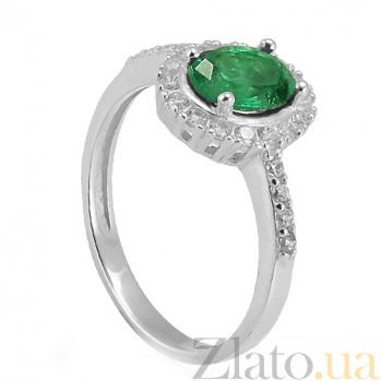 Серебряное кольцо Таисия с зелёным цирконием Таисия к/зел