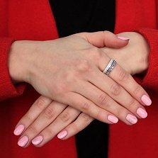 Серебряное широкое кольцо Тиара с фианитами