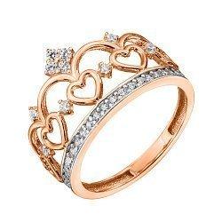 Кольцо-корона из красного золота с фианитами и родированием 000129291