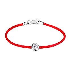 Шелковый браслет с завальцованным фианитом и серебряной застежкой 000126768