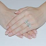 Серебряное кольцо с цирконием и изумрудами Патрисия