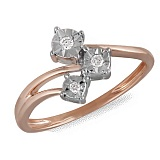 Кольцо Герда из красного золота с бриллиантами