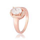 Позолоченное кольцо из серебра с фианитами Лайма
