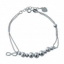 Многослойный серебряный браслет Парад планет с круглыми бусинами и знаком бесконечности