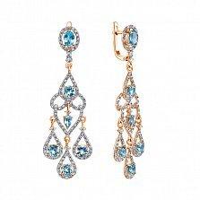 Серьги-подвески в комбинированном цвете золота с голубыми топазами и фианитами 000134500