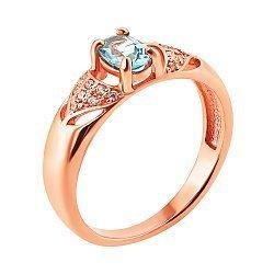 Кольцо из красного золота с голубым топазом и фианитами 000133745