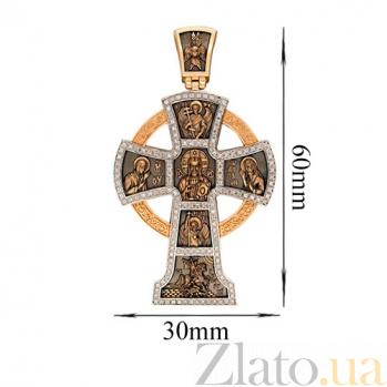 Золотой крестик с черным родированием Силы Небесные VLT--КС3040-3