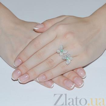 Серебряное кольцо с цирконием и изумрудами Патрисия ZMX--RCZE-6722-Ag_K