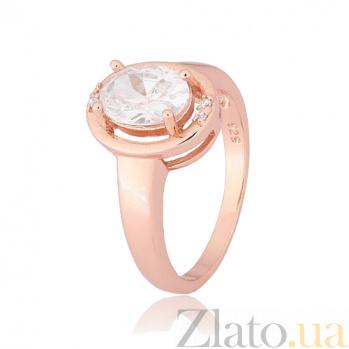 Позолоченное кольцо из серебра с фианитами Лайма 000028406