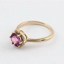 Золотое кольцо с аметистом и фианитами Ада