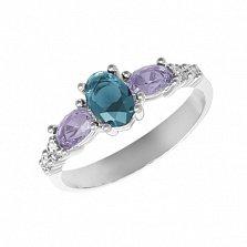 Серебряное кольцо Ундина с лондон кварцем, аметистом и фианитами